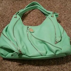 Justfab large mint green zipper purse